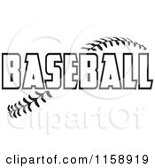 Clipart Of Black And White Baseball Text Over Stitches Royalty Free Vector Illustration by Johnny Sajem