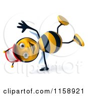 Clipart Of A 3d Happy Bee Wearing A Hat And Cartwheeling Royalty Free CGI Illustration