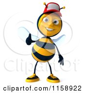 Clipart Of A 3d Happy Bee Wearing A Hat And Holding A Thumb Up Royalty Free CGI Illustration