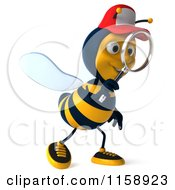 Clipart Of A 3d Happy Bee Wearing A Hat And Using A Magnifying Glass 2 Royalty Free CGI Illustration