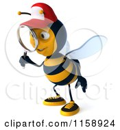 Clipart Of A 3d Happy Bee Wearing A Hat And Using A Magnifying Glass Royalty Free CGI Illustration