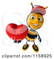 Clipart Of A 3d Happy Bee Wearing A Hat And Holding Up A Heart Royalty Free CGI Illustration