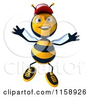 Clipart Of A 3d Happy Bee Wearing A Hat And Jumping Royalty Free CGI Illustration