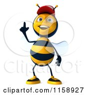 Clipart Of A 3d Happy Bee Wearing A Hat And Pointing Up Royalty Free CGI Illustration