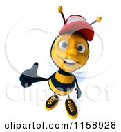Clipart Of A 3d Happy Bee Wearing A Hat And Holding A Thumb Up 2 Royalty Free CGI Illustration