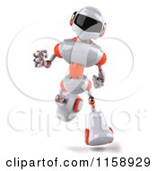Clipart Of A 3d White And Orange Male Techno Robot Running Royalty Free CGI Illustration