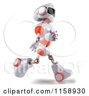 Clipart Of A 3d White And Orange Male Techno Robot Running 2 Royalty Free CGI Illustration