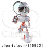 Clipart Of A 3d White And Orange Male Techno Robot Using A Magnifying Glass Royalty Free CGI Illustration