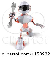 Clipart Of A 3d White And Orange Male Techno Robot Holding A Wrench 2 Royalty Free CGI Illustration