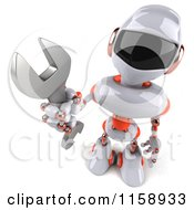 Clipart Of A 3d White And Orange Male Techno Robot Holding A Wrench Royalty Free CGI Illustration