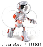 Clipart Of A 3d White And Orange Male Techno Robot Using A Magnifying Glass 2 Royalty Free CGI Illustration
