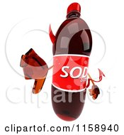 Clipart Of A 3d Devil Soda Bottle Mascot Holding A Thumb Down Royalty Free CGI Illustration