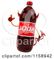 Clipart Of A 3d Devil Soda Bottle Mascot With An Idea Royalty Free CGI Illustration