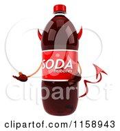 Clipart Of A 3d Devil Soda Bottle Mascot Presenting Royalty Free CGI Illustration