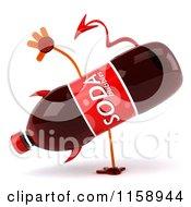 Clipart Of A 3d Devil Soda Bottle Mascot Cartwheeling Royalty Free CGI Illustration