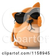 Clipart Of A 3d Chubby Ginger Cat Wearing Sunglasses By A Sign Royalty Free CGI Illustration