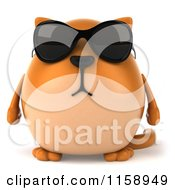 Clipart Of A 3d Chubby Ginger Cat Wearing Sunglasses Royalty Free CGI Illustration