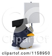 Clipart Of A 3d Chubby Penguin Graduate Holding A Sign Royalty Free CGI Illustration