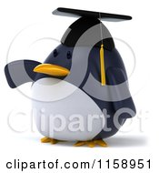 Clipart Of A 3d Chubby Penguin Graduate Pointing Left Royalty Free CGI Illustration