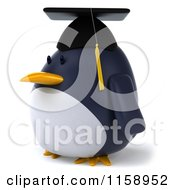 Clipart Of A 3d Chubby Penguin Graduate Facing Left Royalty Free CGI Illustration