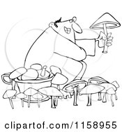 Cartoon Of An Outlined Man Picking Mushrooms Royalty Free Vector Illustration