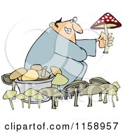 Cartoon Of A Man Picking Mushrooms One Being Poisonous Royalty Free Vector Illustration