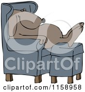 Cartoon Of A Dog Sleeping In A Chair With His Feet On An Ottoman Royalty Free Vector Illustration