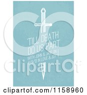 Clipart Of A Sword Wedding Invitation With Sample Text On Blue Royalty Free Vector Illustration by BestVector
