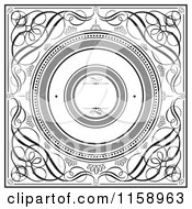 Clipart Of Black And White Swirl Wedding Invitation With Round Copyspace Royalty Free Vector Illustration
