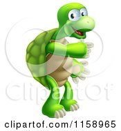 Cartoon Of A Happy Tortoise Standing And Pointing Royalty Free Vector Illustration by AtStockIllustration