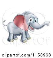 Cartoon Of A Happy Elephant With A Smile Royalty Free Vector Illustration