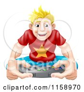 Cartoon Of A Happy Blond Gamer Guy Holding A Remote Royalty Free Vector Illustration by AtStockIllustration