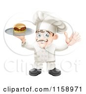 Cartoon Of A Happy Chef Holding Up A Cheeseburger On A Platter Royalty Free Vector Illustration