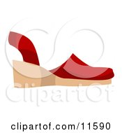 Red Sandal Shoe Clipart Picture by AtStockIllustration