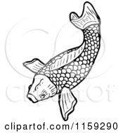 Cartoon Of A Black And White Koi Fish Royalty Free Vector Illustration by lineartestpilot