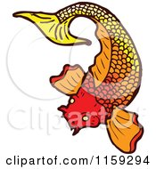 Cartoon Of An Orange Koi Fish Royalty Free Vector Illustration