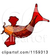 Cartoon Of A Red Koi Fish Royalty Free Vector Illustration by lineartestpilot