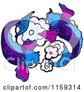 Cartoon Of Purple Koi Fish Royalty Free Vector Illustration by lineartestpilot