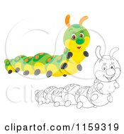 Cartoon Of A Cute Colored And Outlined Caterpillar Royalty Free Clipart by Alex Bannykh