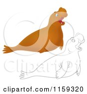 Cartoon Of A Cute Outlined And Brown Elephant Seal Royalty Free Clipart by Alex Bannykh
