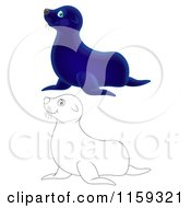 Cartoon Of A Cute Outlined And Blue Seal Royalty Free Clipart by Alex Bannykh