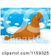 Cartoon Of A Brown Elephant Seal On Arctic Ice Royalty Free Clipart by Alex Bannykh