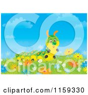 Cartoon Of A Cute Caterpillar In Wildflowers Royalty Free Clipart by Alex Bannykh