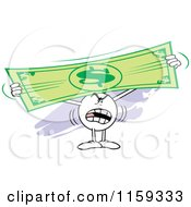 Cartoon Of A Mad Moodie Character Holding Up And Stretching A Dollar Bill Royalty Free Vector Clipart