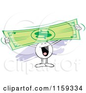 Cartoon Of A Happy Moodie Character Holding Up And Stretching A Dollar Bill Royalty Free Vector Clipart