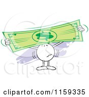 Cartoon Of A Worried Moodie Character Holding Up And Stretching A Dollar Bill Royalty Free Vector Clipart