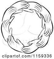 Cartoon Of A Black And White Circle Of Hands Royalty Free Vector Clipart by Johnny Sajem
