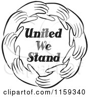 Cartoon Of A Black And White Circle Of Hands Around United We Stand Royalty Free Vector Clipart by Johnny Sajem
