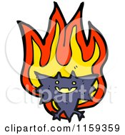 Cartoon Of A Flying Bat And Flames Royalty Free Vector Illustration