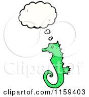 Cartoon Of A Thinking Green Seahorse Royalty Free Vector Illustration